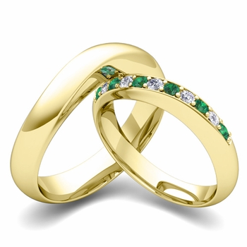 Matching Wedding Band in 18k Gold Curved Diamond and Emerald Ring