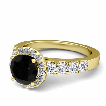 Brilliant Pave Set Black and White Diamond Halo Engagement Ring in 18k Gold, 6mm