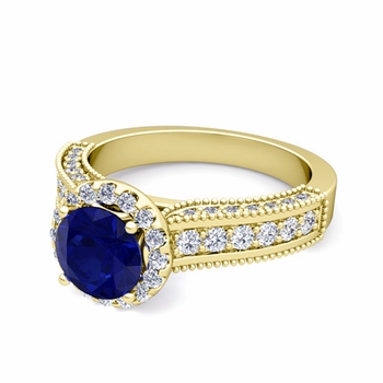 Heirloom Diamond and Sapphire Engagement Ring in 18k Gold, 7mm