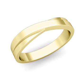 Infinity Wedding Band in 18k Gold Polished Finish Comfort Fit Ring, 4mm