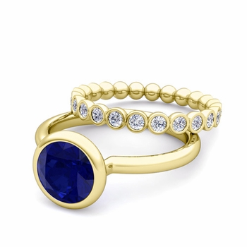 Bezel Set Blue Sapphire Ring and Diamond Wedding Ring Bridal Set in 18k Gold, 7mm