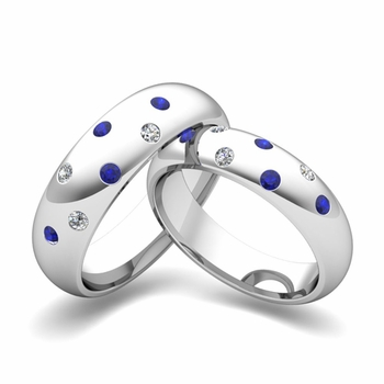 Matching Wedding Bands: Scattered Diamond and Sapphire Wedding Ring in 14k Gold