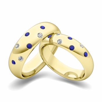 Matching Wedding Bands: Scattered Diamond and Sapphire Wedding Ring in 18k Gold