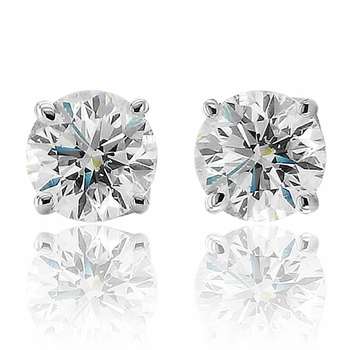 Diamond Earrings in Platinum 4 Prong Set Screw Back G, SI1, 1.00 cttw