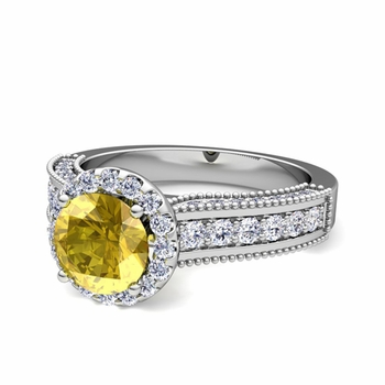 Heirloom Diamond and Yellow Sapphire Engagement Ring in 14k Gold, 7mm
