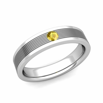 Solitaire Yellow Sapphire Mens Wedding Band in Platinum Comfort Fit Ring, 5mm