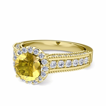 Heirloom Diamond and Yellow Sapphire Engagement Ring in 18k Gold, 7mm