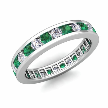 Channel Set Diamond and Emerald Eternity Band in 14k Gold