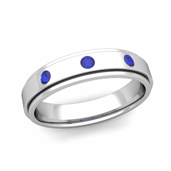 3 Stone Sapphire Mens Wedding Ring in Platinum Comfort Fit Ring, 5mm