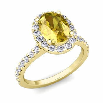 Petite Pave Set Diamond and Yellow Sapphire Halo Engagement Ring in 18k Gold, 9x7mm