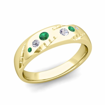 Mens Flush Set Diamond and Emerald Wedding Band in 18k Gold, 6mm