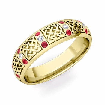 Ruby and Diamond Wedding Ring in 18k Gold Celtic Knot Wedding Band, 6mm