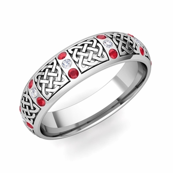 Ruby and Diamond Wedding Ring in Platinum Celtic Knot Wedding Band, 6mm