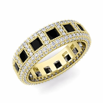 Pave Diamond and Princess Cut Black Diamond Eternity Band in 18k Gold, 6mm