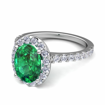 Petite Pave Set Diamond and Emerald Halo Engagement Ring in 14k Gold, 7x5mm