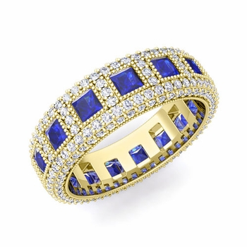 Pave Diamond and Princess Cut Blue Sapphire Eternity Band in 18k Gold, 6mm