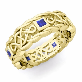 Princess Cut Sapphire Ring in 18k Gold Celtic Knot Wedding Band, 7mm