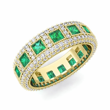 Pave Diamond and Princess Cut Emerald Eternity Band in 18k Gold, 6mm