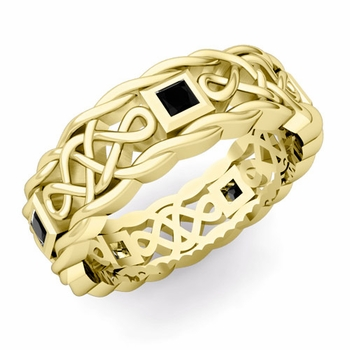 Princess Cut Black Diamond Ring in 18k Gold Celtic Knot Wedding Band, 7mm