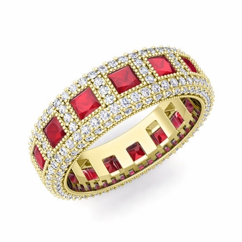 Pave Diamond and Princess Cut Ruby Eternity Band in 18k Gold, 6mm