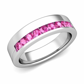 Channel Set Comfort Fit Pink Sapphire Wedding Ring in Platinum, 4mm