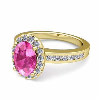 Diamond and Pink Sapphire Halo Engagement Ring in 18k Gold Channel Set Ring, 7x5mm