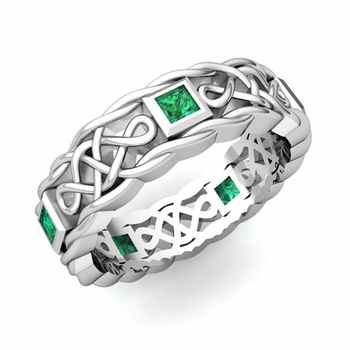 Princess Cut Emerald Ring in Platinum Celtic Knot Wedding Band, 5mm
