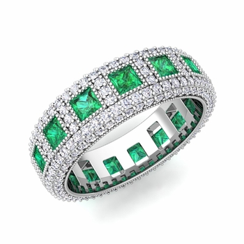 engagement bezel emerald band diamond gemstone ring wedding bands eternity