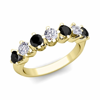 Crown Black and White Diamond Ring in 18k Gold Knife Edge Wedding Band