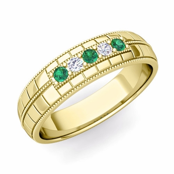 Emerald and Diamond Mens Wedding Band in 18k Gold 5 Stone Ring, 5mm
