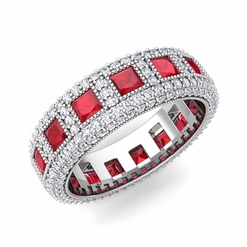 Pave Diamond and Princess Cut Ruby Eternity Band in 14k Gold, 6mm