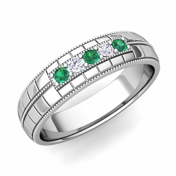 Emerald and Diamond Mens Wedding Band in Platinum 5 Stone Ring, 5mm