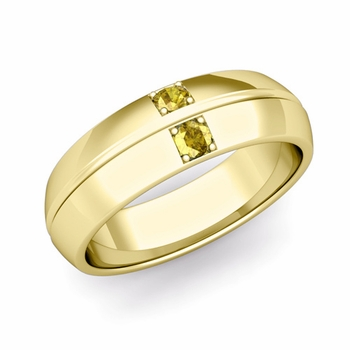 Mens Comfort Fit Yellow Sapphire Wedding Band Ring in 18k Gold, 6mm