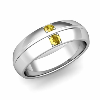 Mens Comfort Fit Yellow Sapphire Wedding Band Ring in Platinum, 6mm