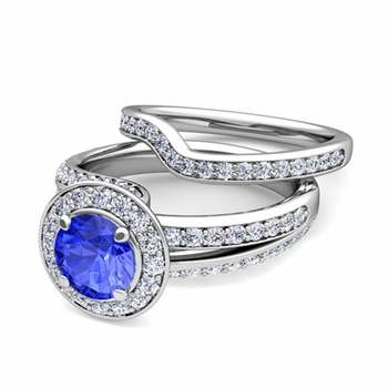 Wave Diamond and Ceylon Sapphire Engagement Ring Bridal Set in 14k Gold, 7mm