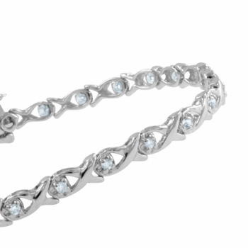 XOXO Diamond Bracelet in 10k White Gold Bracelet G, SI2, 0.32 cttw, Safety Clasp