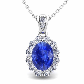 Halo Diamond and Ceylon Sapphire Necklace in 14k Gold Pendant 8x6mm