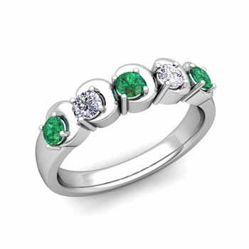 Organica 5 Stone Diamond and Emerald Wedding Ring in Platinum, 3.5mm