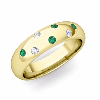 Comfort Fit Scattered Emerald and Diamond Wedding Band in 18k Gold, 5mm