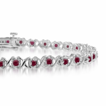 XOXO Ruby Bracelet in 14k White Gold Tennis Bracelet, 1.35 cttw, 7 inches