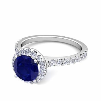 Petite Pave Set Diamond and Sapphire Halo Engagement Ring in 14k Gold, 7mm