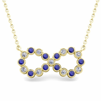 Milgrain Diamond and Sapphire Necklace in 18k Gold Infinity Pendant