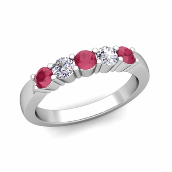 5 Stone Diamond and Ruby Wedding Ring in 14k Gold