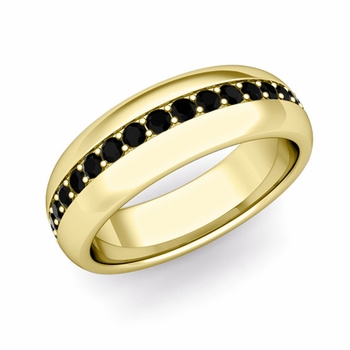 Pave Set Comfort Fit Black Diamond Wedding Band Ring in 18k Gold, 5.5mm