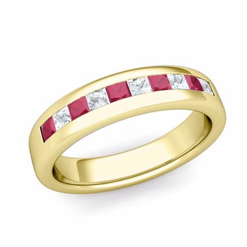 Channel Set Princess Cut Diamond and Ruby Wedding Ring in 18k Gold, 4.5mm