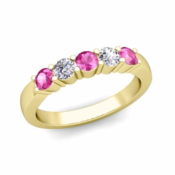5 Stone Diamond and Pink Sapphire Wedding Ring in 18k Gold