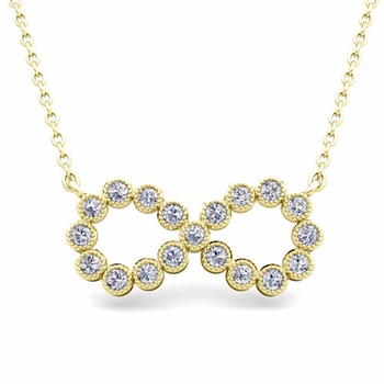 Milgrain Diamond Necklace in 18k Gold Infinity Pendant