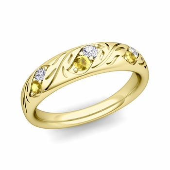 Vintage Inspired Diamond and Yellow Sapphire Wedding Ring in 18k Gold 3.8mm