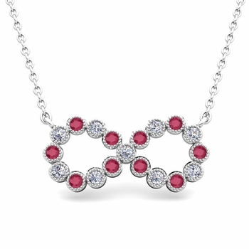 Milgrain Diamond and Ruby Necklace in 14k Gold Infinity Pendant