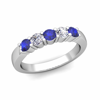5 Stone Diamond and Sapphire Wedding Ring in 14k Gold